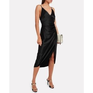 JONATHAN SIMKHAI Lace-Trimmed Midi Slip Dress (XS)